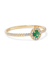 Suzanne Kalan 18 Karat Gold Emerald And Diamond Ring