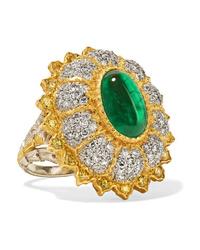 Buccellati 18 Karat Yellow And White Gold Diamond And Emerald Ring