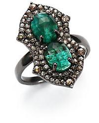Diamond Emerald Sterling Silver Ring