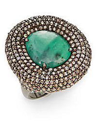 Emerald Champagne Diamond Sterling Silver Statet Ring