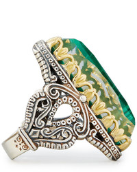 Konstantino Faceted Green Crystal Quartz Over Malachite Cocktail Ring h9Ajyug5