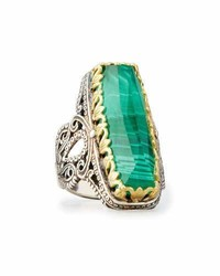 Faceted green crystal quartz over malachite cocktail ring medium 950300