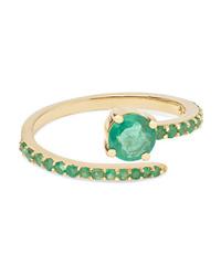 Ileana Makri Grass Seed 18 Karat Gold Emerald Ring