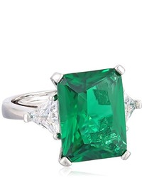 Kenneth Jay Lane Cz By Classic Green Emerald Cz With Side Trillion Adjustable Ring Size 5 7 8 Cttw