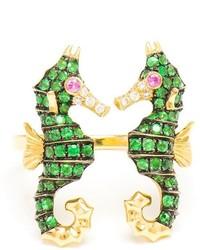 Leon Yvonne Lon Diamond Double Seahorse Ring