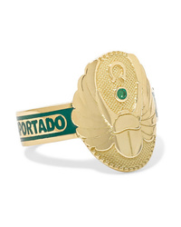 Foundrae Protection 18 Karat Gold Emerald And Enamel Ring