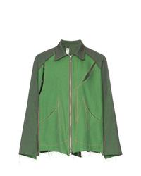 Sulvam Two Tone Slashed Shirt Jacket
