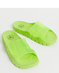 Missguided Chunky Sole Slider In Lime