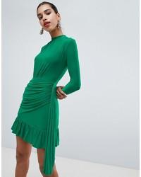 PrettyLittleThing High Neck Ruffle Hem Slink Bodycon Dress In Green