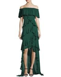 Badgley mischka green evening dress