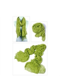 IDS Long Crinkle Scarf Wrap Shawl Stole Style Fashion Girl Green
