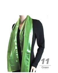 Selini Green Solid Polyester Satin Scarf Sps1301