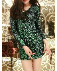 Choies Green Sequins Long Sleeve V Collar Dress