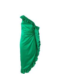 ATTICO Frill Trim Asymmetric Midi Dress