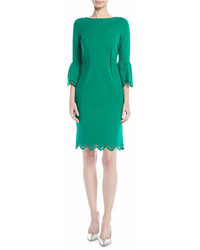 Rickie Freeman For Teri Jon Tulip Sleeve Zigzag Sheath Cocktail Dress
