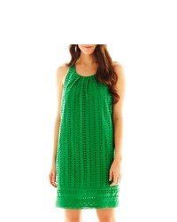 ISABEL AND NINA Pleat Neck Eyelet Shift Dress
