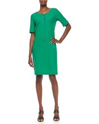 Joan Vass Pique Lace Up Shift Dress
