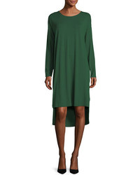Eileen Fisher Long Sleeve Lightweight Viscose Jersey Shift Dress