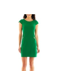 R & K Originals Rk Originals Solid Zipper Shift Dress Green