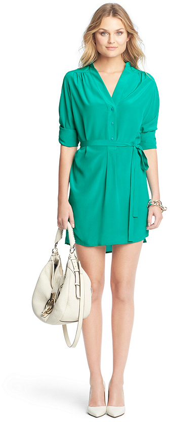 Green shirtdress diane von furstenberg irene silk shirt for Where to buy a dress shirt