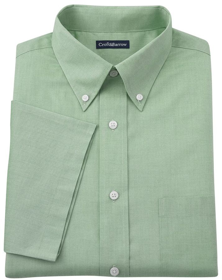 c198f5b64c5 ... croft   barrow Fitted Solid Pinpoint Oxford Button Down Collar Dress  Shirt ...