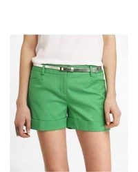 Express 4 12 Inch Belted Cuffed Editor Shorts Green 4