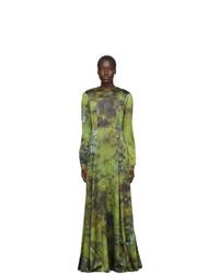 S.R. STUDIO. LA. CA. Green Soto Silk Long Prairie Dress
