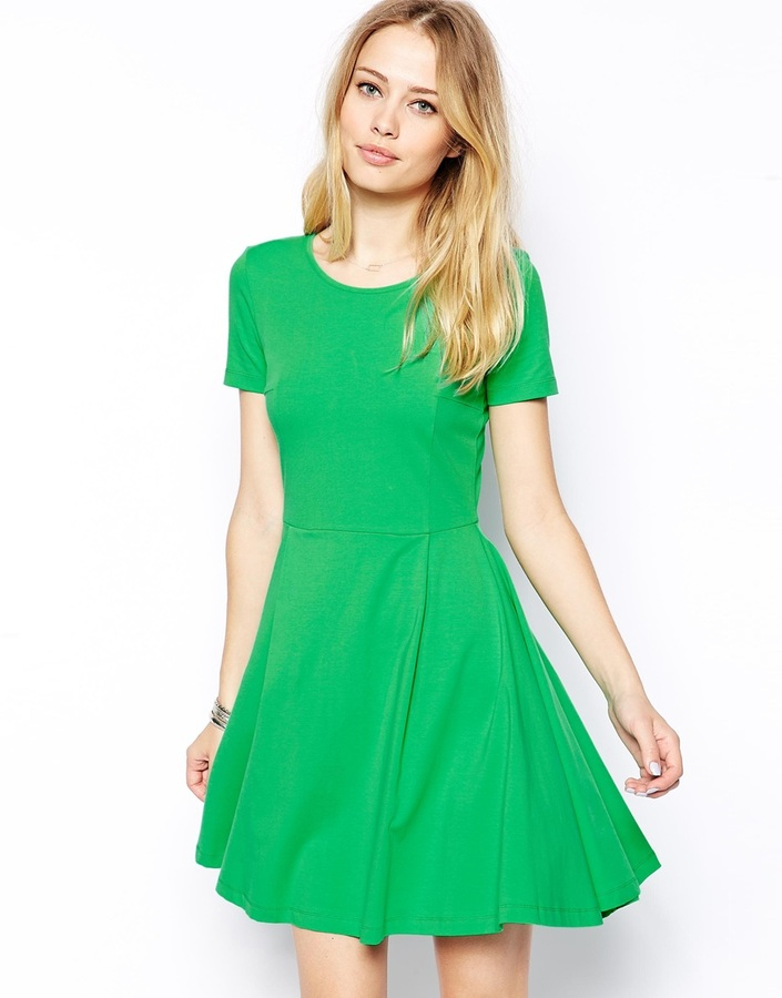 e0d1b13c13 ... Green Skater Dresses Asos Skater Dress With Seam Detail And Short  Sleeves ...