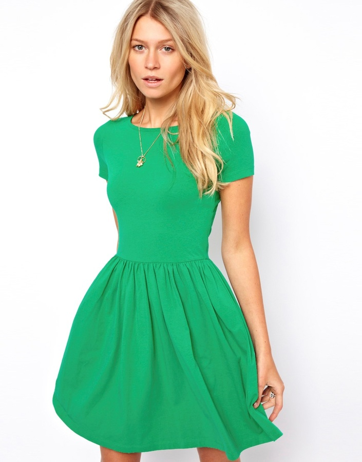 8a52a0bc878d ... Green Skater Dresses Asos Skater Dress With Slash Neck And Short Sleeves  ...