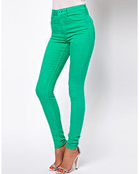 Asos Ridley High Waist Ultra Skinny Jeans In Emerald Green Green