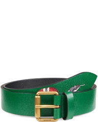 Snake print leather belt green medium 672389