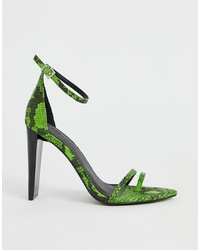 ASOS DESIGN Harper Barely There Heeled Sandals In Green Snake