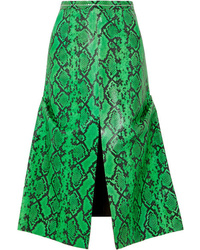 Marni Snake Effect Leather Midi Skirt