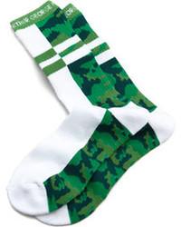 Rob-ert Arthur George By Robert Kardashian Split Camo Socks Whitegreen