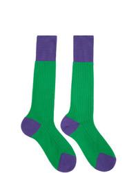 Prada Green And Purple Bi Color Socks
