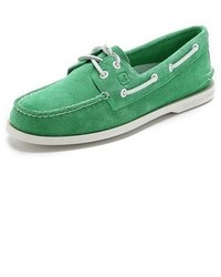 Green Suede Boat Shoes