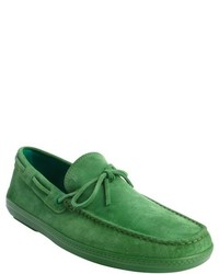 Tod's Green Suede Moc Toe Slip On Loafers