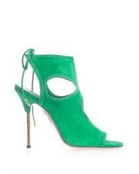 Green Suede Heeled Sandals