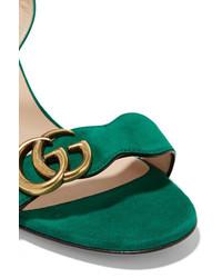 561dc8e20c4 ... Gucci Suede Sandals Dark Green ...