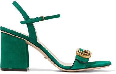 93d16fb5618ce8 ... Gucci Suede Sandals Dark Green ...