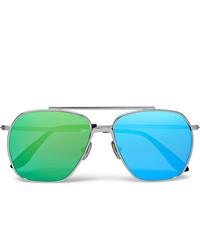 Acne Studios Anteom Aviator Style Silver Tone Mirrored Sunglasses