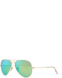 Ray-Ban Aviator Sunglasses With Flash Lenses Goldgreen Mirror