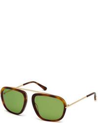 Tom Ford Johnson Squared Aviator Sunglasses Havana