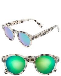 Illesteva Leonard 47mm Sunglasses Amber Tortoise Pink Mirror