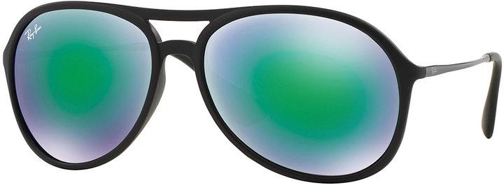 e86f29b44bad Plastic Aviator Sunglasses With Mirror Lenses Green. Green Sunglasses by Ray -Ban