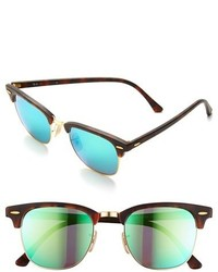 mirrored aviator sunglasses ray ban w45r  Ray-Ban Flash Clubmaster 51mm Sunglasses Tortoise Blue Mirror