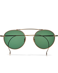 Mr Leight Rei S Round Frame Gold Tone Sunglasses