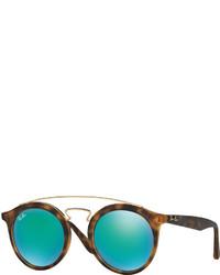 Ray-Ban Round Mirrored Brow Bar Sunglasses Browngreen