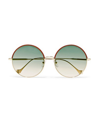 Loewe Sharon Round Frame Gold Tone And Leather Sunglasses