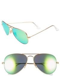 Ray-Ban Standard Icons 58mm Mirrored Polarized Aviator Sunglasses Gold Green Mirror